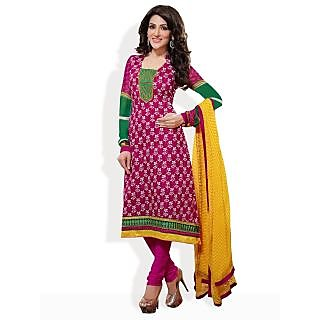 Cotton Bazaar Special-Ly For You Festive Ready-To-Stitch Suit (Dark pink)