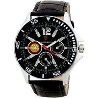 Round Dial Black Leather Strap Men Quartz Watch