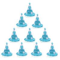 Magideal 10pcs Polka Dot Birthday Boy Cone Hat Kids Children Celebration Cap Blue