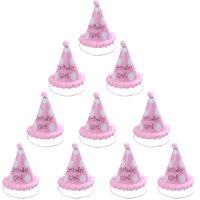 Magideal 10pcs Polka Dot Birthday Girl Cone Hat Kids Children Celebration Cap Pink