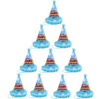 Magideal 10pcs Polka Dot Happy Birthday Hat Kids Children Celebration Cap Light Blue