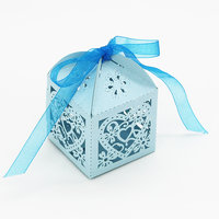 Magideal 50x Heart Flower Hollow Out Candy Gift Boxes With Bow Ribbons Decor Sky Blue