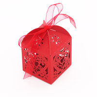 Magideal 50x Heart Flower Hollow Out Candy Gift Boxes With Bow Ribbons Decor Red