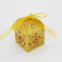 Magideal 50x Heart Flower Hollow Out Candy Gift Boxes With Bow Ribbons Decor Golden