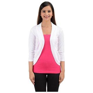 Timbre Women Stylish White Viscose Shrug With Net Pockets