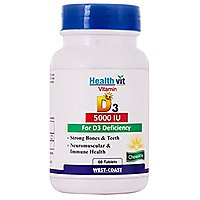 Healthvit Vitamin D3 5000 IU Maximum Strength 60 Tablets