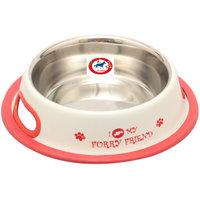 PET CLUB51 STANDARD DOG FOOD BOWL FURRY FRIENDS WHITE  - 600ML