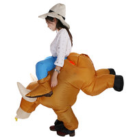 Magideal Inflatable Bull Rider Adult Fancy Dress Costume Cowboy Stag Night Outfit