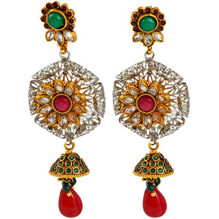 Maayra Red Green Bollywood Ethnic Wedding Dangler Earrings
