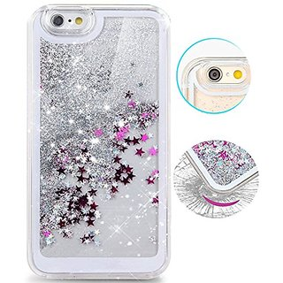iPhone 6s Plus Case,iPhone 6 Plus Case,Hundromi Luxury Bling Glitter Sparkle Hybrid Bumper Case with Liquid Infused with Glitter and Stars iphone 6 Plus/6s Plus-Silver