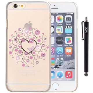iPhone 6 Plus Case, iPhone 6S Plus Case, iYCK Ultra Thin Clear Art Pattern Crystal Diamond Rhinestone Hard Plastic Rubber Snap On Shell Back Skin Case for iPhone 6 / 6S Plus (5.5) - Pink Floral Heart