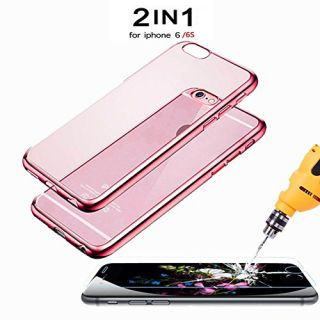 iPhone 6s Case rose gold(4.7 Inch),*Bonus Glass*,Pansy Ultra Slim Thin Soft TPU iPhone 6s Case, Good Protective Case for iPhone 6s, with Free iPhone 6s Screen Protector, 2 in 1 Pack (Rose Gold)