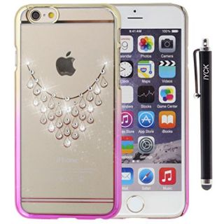 iPhone 6S Plus Case, iYCK Electroplated & Transparent [Apple Design] Crystal Diamond Rhinestone Hard Slim Snap On Shell Back Skin Case Cover for iPhone 6 / 6S Plus (5.5) - Water Drop Necklace