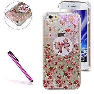 iPhone 6 Plus/6S Plus Case, EMAXELER 3D Liquid Creative Pink Heart Pattern Series Brilliant Bling Glitter Liquid Floating Moving Hard Case for iPhone 6 Plus/6S Plus+Stylus Pen-Bow & Rose
