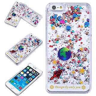 Yoption Liquid Case Starry Sky Transparent Plastic 3D Glitter Creative Design Flowing Floating Glitter Sparkle Universe of Stars Hard Case Cover for iPhone 6 Plus 6s Plus 5.5(White)