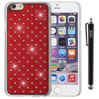 iPhone 6 Case, iPhone 6S Case, iYCK Electroplated Hard Plastic 3D Embedded Studded Crystal Diamond Rhinestone Bling Slim Lightweight Snap On Shell Back Skin Case Cover for iPhone 6/6S (4.7) - Red