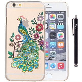 iPhone 6 Case, iPhone 6S Case, iYCK Crystal Diamond Rhinestone Hard Plastic Rubber Snap On Shell Back Skin Case Cover for Apple iPhone 6 / 6S (4.7) - Peacock Floral