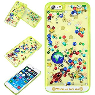 Yoption Liquid Case Starry Sky Transparent Plastic 3D Glitter Creative Design Flowing Floating Glitter Sparkle Universe of Stars Hard Case Cover for iPhone 6 Plus 6s Plus 5.5(Green)