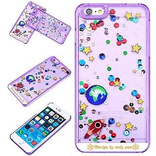 Yoption Liquid Case Starry Sky Transparent Plastic 3D Glitter Creative Design Flowing Floating Glitter Sparkle Universe of Stars Hard Case Cover for iPhone 6 Plus 6s Plus 5.5(Purple)