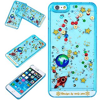 Yoption Liquid Case Starry Sky Transparent Plastic 3D Glitter Creative Design Flowing Floating Glitter Sparkle Universe of Stars Hard Case Cover for iPhone 6 Plus 6s Plus 5.5(Blue)