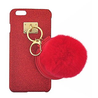 S&C Cute Luxury String of Beauty Mirror Fur Ball Chain Bling Glitter Hard Back Case Cover Phone Case for iPhone 6 6S (4.7