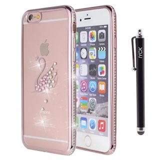 iPhone 6S Plus Case, iYCK Electroplated Crystal Clear Soft Flexible TPU [Studded Full Frame and Back] Diamond Bling Rhinestone Protective Back Case Cover for iPhone 6/6S Plus 5.5 inch - Rose Gold Swan