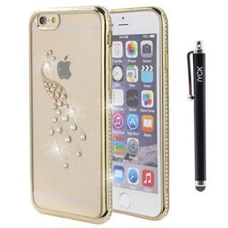 iPhone 6S Plus Case, iYCK Electroplated Crystal Clear Soft Flexible TPU [Studded Full Frame and Back] Diamond Bling Rhinestone Protective Back Case Cover for iPhone 6/6S Plus 5.5 inch - Gold Peacock