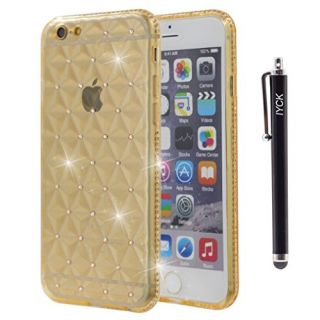iPhone 6S Case, iYCK [3D Prism] Soft Flexible TPU Rubber Gel Crystal Clear [Studded Full Frame and Back] Diamond Bling Rhinestone Protective Shell Back Case Cover for iPhone 6/6S 4.7 inch - Gold