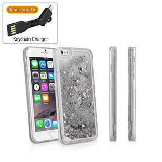 iPhone 6 Plus Case, BoxWave [StarShine Case with BONUS Keychain Charger] Hybrid Hard Shell / TPU Liquid Sparkle Case for Apple iPhone 6 Plus, 6s Plus - Silver Sparkles
