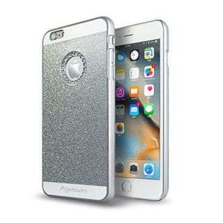 iPhone 6S Plus Case, iPhone 6 Plus Case, Aprtwin Luxury Hybrid Beauty Crystal Rhinestone With Gold Sparkle Glitter PC Hard Protective Diamond Case Cover For iPhone 6/6S Plus (5.5Inch)[Silver]