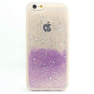 iPhone 6 Case,iPhone 6s Case, BAISRKE Spark Glitter Shine Diamond Star Clear Transparent Soft TPU Back Cover for iPhone 6 6S (Normal 4.7 inches) - Clear & Purple