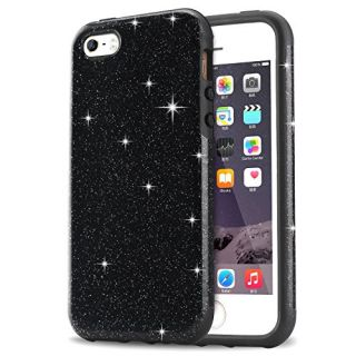 iPhone SE Case, Tendlin Luxury Hybrid Glitter Bling Crystal [Scratch Resistant] Soft TPU Bumper [Drop Proof] Shiny Sparkle Beauty Case for iPhone SE & iPhone 5S / 5 (Black)