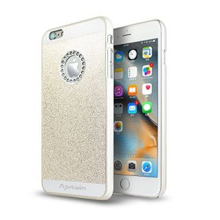 iPhone 6S Plus Case, iPhone 6 Plus Case, Aprtwin Luxury Hybrid Beauty Crystal Rhinestone With Gold Sparkle Glitter PC Hard Protective Diamond Case Cover For iPhone 6/6S Plus (5.5Inch)[White]