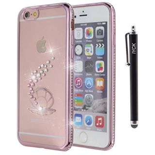 iPhone 6S Case, iYCK Electroplated Crystal Clear Soft Flexible TPU Rubber [Studded Full Frame and Back] Diamond Bling Rhinestone Protective Back Case Cover for iPhone 6/6S 4.7 inch - Rose Gold Clam