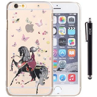 iPhone 6 Case, iPhone 6S Case, iYCK 3D Handmade Clear Bling Crystal Rhinestone Diamond Hard Plastic Rubber Snap On Shell Back Skin Case Cover for iPhone 6/6S 4.7 inch Screen - Butterfly Girl On Horse