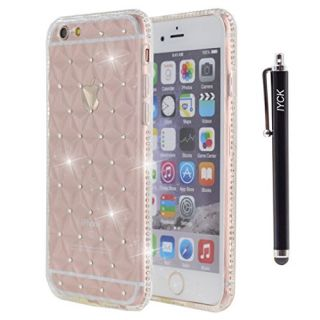 iPhone 6S Plus Case, iYCK [3D Prism] Soft Flexible TPU Rubber Gel Crystal Clear [Studded Full Frame and Back] Diamond Bling Rhinestone Protective Back Case Cover for iPhone 6/6S Plus 5.5 inch - White