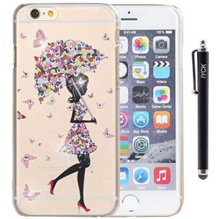 iPhone 6 Case, iPhone 6S Case, iYCK Crystal Diamond Rhinestone Hard Plastic Rubber Snap On Shell Back Skin Case Cover for Apple iPhone 6 / 6S (4.7) - Butterfly Flower Umbrella Girl