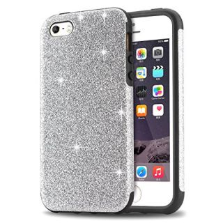 iPhone SE Case, Tendlin Luxury Hybrid Glitter Bling Crystal [Scratch Resistant] Soft TPU Bumper [Drop Proof] Shiny Sparkle Beauty Case for iPhone SE & iPhone 5S / 5 (Silver)
