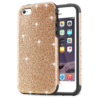 iPhone SE Case, Tendlin Luxury Hybrid Glitter Bling Crystal [Scratch Resistant] Soft TPU Bumper [Drop Proof] Shiny Sparkle Beauty Case for iPhone SE & iPhone 5S / 5 (Gold)