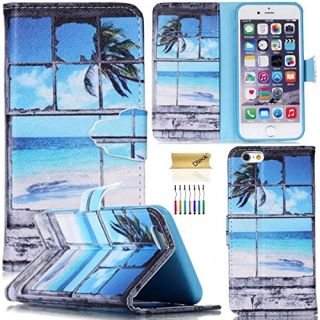 iPhone 6 Plus/6S Plus Case, Dteck(TM) Colorful Slim Flip Folio Synthetic Leather Premium Protective Wallet Case Cover with Card/Money Holders for Apple iPhone 6 Plus/6S Plus 5.5 inch (Beach)