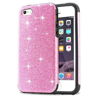 iPhone SE Case, Tendlin Luxury Hybrid Glitter Bling Crystal [Scratch Resistant] Soft TPU Bumper [Drop Proof] Shiny Sparkle Beauty Case for iPhone SE & iPhone 5S / 5 (Pink)