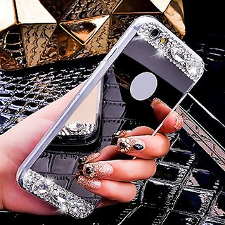 Sasa(TM)iPhone 6Plus/6S Plus Case,Super Shinning Hybrid Glitter Bling Shiny Sparkling+ Glass Mirror Back Plate Soft Cover Case for iPhone 6Plus/6S Plus (5.5 inch) (Silver)