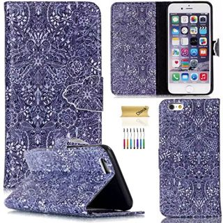 iPhone 6 Plus/6S Plus Case, Dteck(TM) Colorful Slim Flip Folio Synthetic Leather Premium Protective Wallet Case Cover with Card/Money Holders for Apple iPhone 6 Plus/6S Plus 5.5 inch (Blue Damask)