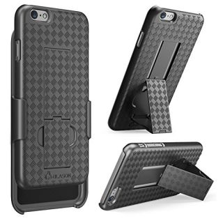 iPhone 6 Plus Case, i-Blason [Transformer] iPhone 6 Plus (5.5) Case Slim Holster **Kickstand** [Holster Combo] Textured Finish [Better Grip] - Slim Case for iPhone 6 Plus 5.5 inch (Black)