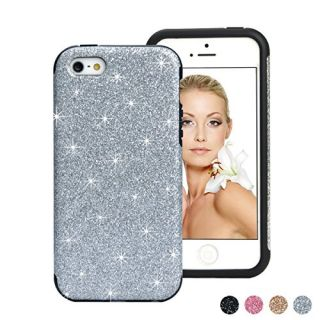 iPhone SE Case, iPhone 5S Case, HESPLUS Shiny Sparkle Glitter Bling [Anti-Shock] [Scratch Resistant] Soft Gel Flexible Rubber TPU Case for Apple iPhone SE / iPhone 5S / iPhone 5 - Silver
