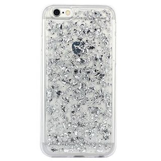 iPhone 6 Case, iPhone 6s Case, BAISRKE Spark Glitter Shine Big Diamond Star Clear Transparent Soft Thickening TPU Back Cover for Apple iPhone 6 6S (4.7 inches) - Bright Silver