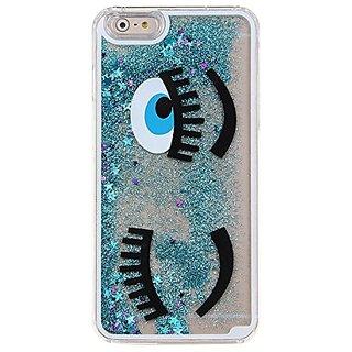 IKASEFU Glitter Case for Iphone 6,Creative 3d Cute Big Eye Design Flowing Shiny Sparkle Star Liquid Hard Clear Case for Iphone 6 4.7