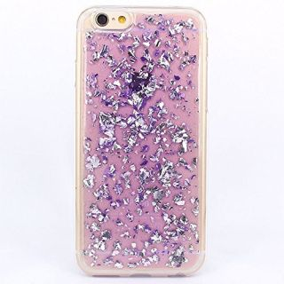 iPhone 6 Case, iPhone 6s Case, BAISRKE Spark Glitter Shine Big Diamond Star Clear Transparent Soft Thickening TPU Back Cover for Apple iPhone 6 6S (4.7 inches) -Purple