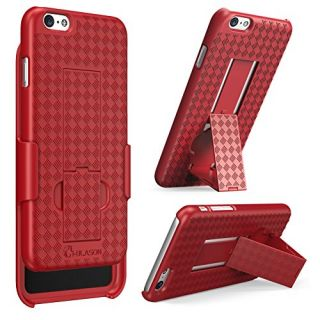 iPhone 6 Plus Case, i-Blason [Transformer] iPhone 6 Plus (5.5) Case Slim Holster **Kickstand** [Holster Combo] Matte finish with Apple Logo Cutout - Slim Case for iPhone 6 Plus 5.5 inch (Red)