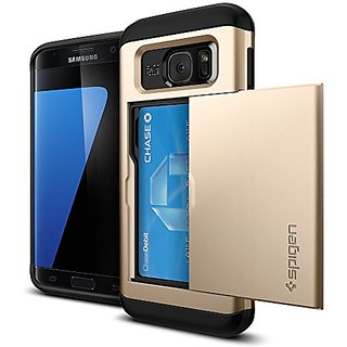 Galaxy S7 Edge Case, Spigen [Slim Armor CS] Card Holder [Champagne Gold] Slim Fit Dual Layer Protective with Card Slot Holder Wallet Case for Samsung Galaxy S7 Edge (2016) - (556CS20256)